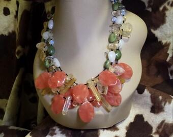Dark rose quartz teardrop necklace made by petronella designs