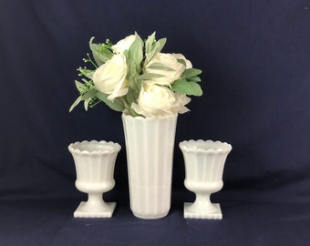 Milk Glass Vase and Planters Set | Three Matching Pieces | Ribbed
