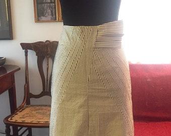 Vintage Pencil Skirt 1980s Striped