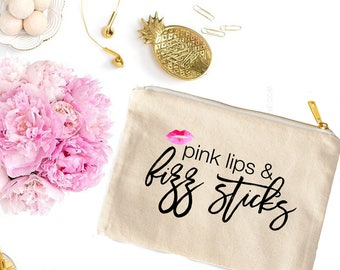 Pink lips & fizz sticks Cosmetic Bag - Cute Makeup Pouch - Swag Bag - Toiletry Bag - Coin Purse