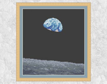 Earthrise astronomy cross stitch pattern, Earth over Moon counted cross stitch chart, space, science, planets, inspirational embroidery