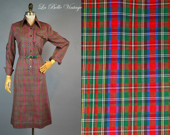 Red Green Plaid Dress S Vintage 70s Colorful Shirtdress ~ Deadstock