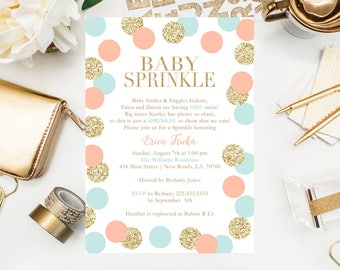 Baby Sprinkle Invitations Gold Glitter Baby Shower Gender Neutral Shower New Baby Twinkle Twinkle Coral and Teal Shower Printables 5x7 Cards