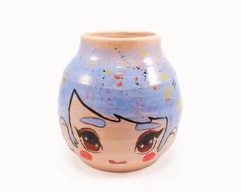 wide eyed girl vase - wheel thrown ceramic vase
