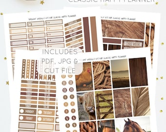 Brown - Weekly Kit for Classic Happy Planner   Printable Planner Stickers   Instant Download   Incl. Silhouette Cut File   PDF & JPG