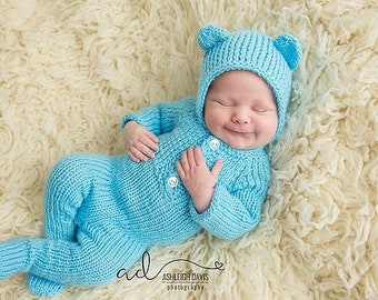newborn boy coming home outfit - Newborn bear Footed Romper - newborn bear romper - Newborn Footed Sleeper Outfit - bear bonnet