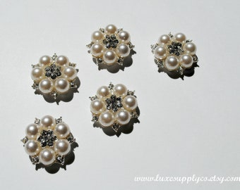 Beautiful Rhinestone & Pearl 26mm Flatback Embellishments - Your Choose the Quantity - WHOLESALE DISCOUNTS - MR470