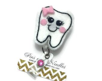 Dentist ID Badge Reel - Retractable Badge Reel - Dental Hygienist Badge Holder - Cute ID Badge Reel - Dentist Gifts - Tooth Badge Reel
