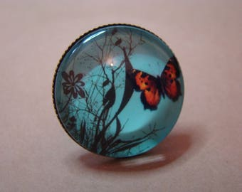 Cabochon blue butterfly Ring
