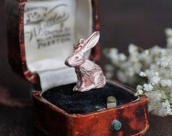 Rose gold rabbit necklace - Rabbit pendant - bunny necklace - woodland jewellery