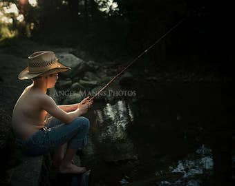 Old Fashioned Photograph, Boy Fishing with Cane Pole, Fine Art Portrait