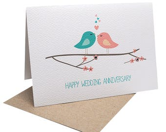 Anniversary Card | Wedding Anniversary Card for Wife | Birds on Branch with Hearts | Card for Anniversary | Anniversary Greeting Card HWA015