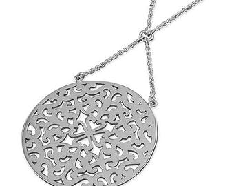 80cm Large Filigree Disc on Chain Sterling Silver Necklace
