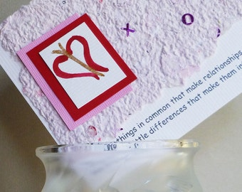 Valentine, Wedding or Anniversary Quote with Handmade Paper and Hand Painted Heart Flowers