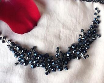 Hair vine, bridal hair headpiece, wedding hair piece, crystal hair accessory black color