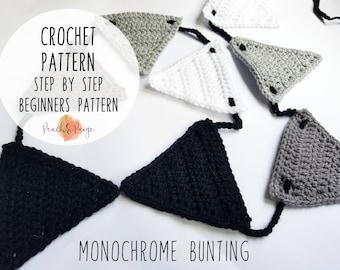 PATTERN ONLY - easy beginners bunting crochet pattern