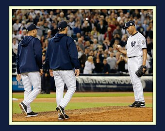 Time to Go Final Game Mariano Rivera Andy Pettite and Derek Jeter take the ball  11x14 Double Matted 8x10 Photo Print NY New York Yankees