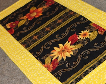 Yellow Gold Floral Flowers  24 X 12  Table Runner Topper
