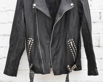 Mens Leather Biker Jacket Womens Leather Biker Jacket Black Leather Biker Jacket Leather Jacket Studded Jacket Vintage Jacket Punk Jacket
