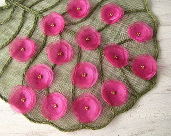 Fabric flowers, organza sew on flower appliques, flower embellishments, sheer silk flowers, flowers for crafts (15pcs)- HOT PINK BLOSSOMS