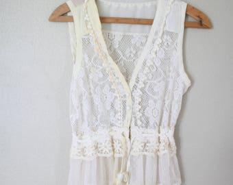 vintage bohemian cream lace vest *