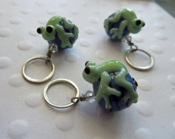 Stitch Marker Knitting Stitch Markers Set Frog Theme Stitch Markers and Stitch Marker Lampwork bead  Knitting Craft Supplies and Tools