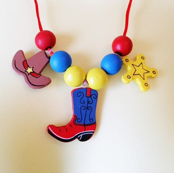 cowboy cowgirl wood beads charms cord necklace wooden pendants boot hat country western jewelry making