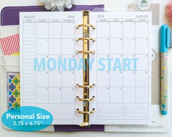 PRINTED Month on 2 pages - Mo2p monthly calendar insert - MONDAY start - Dated up to December 2019 - Personal size - P25