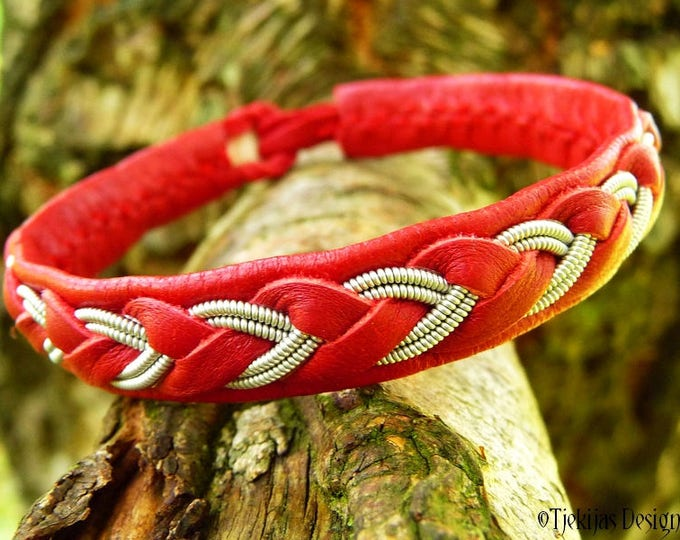 Sami Viking Bracelet ODIN Womens and Mens Lapland Red Leather Cuff with Tin Thread Braid - Custom Handmade Nordic Folklore