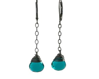 Blue Gift for Girlfriend - Wife Blue Gift - Blue Earrings for Women - Teal Blue Earrings - Blue Earrings for Girlfriend
