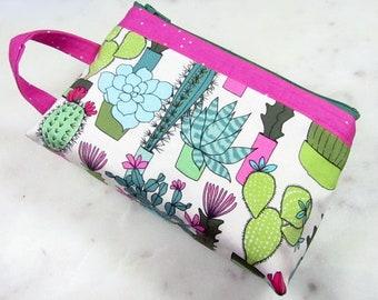 Zipper Pouch, Succulent Print, Cactus Bag, Wristlet Bag,  Makeup Bag, Toiletry Bag, Dopp Kit, Zip Case, Essential Oil Bag, Ditty Bag, Go Bag