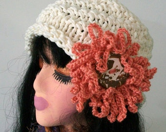 HAT WOMEN KNITTED   Knit  Cloche Open Top Beanie Large Flower