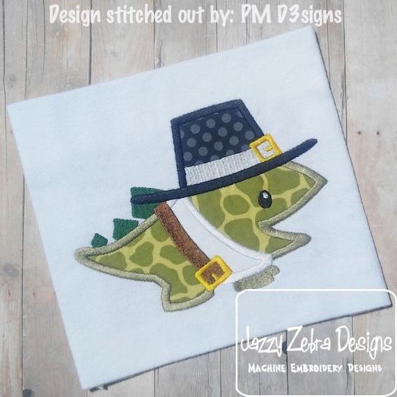 Dinosaur Pilgrim Applique Embroidery Design - Dinosaur applique design - pilgrim appliqué design - Thanksgiving appliqué design - dino