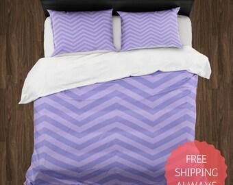 PURPLE Chevron Duvet Cover & Pillow Shams ONLY, Dorm Bedding, College Bedding, Queen King Bedding, Teen Bedding, Comforter Cover
