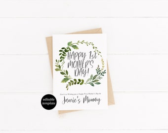 Greenery Floral Mother's Day Card Template Happy First Mother's Day Greeting Card Happy Mother's Day Card Greenery Foliage