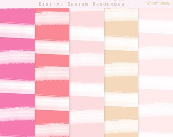 """Watercolour Stripes Digital Papers - Pink Hues - 12""""x12"""" printable, commercial use"""