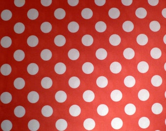 Pink and White Polka Dot - Vintage Fabric - Polyester