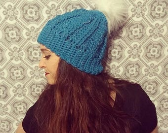Crochet Cable Hat with Furry Pom Pom