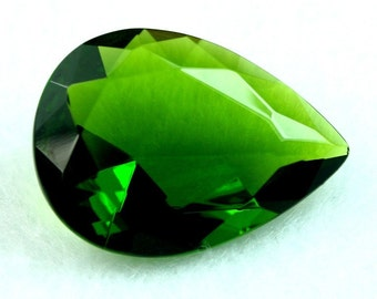 Glass Jewel 18x25mm Tear Drop Faceted Diamond Cut Pointed Back, Unfoiled  - Olive Green BG127 - 1 pc