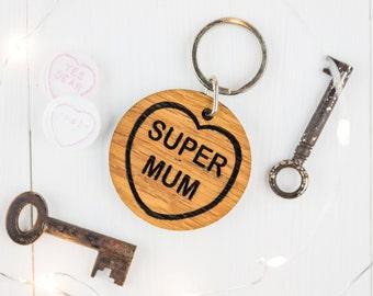 Personalised Mums Keyring - Mum Keyring - Gift For Mum - Mum Gift - Wooden Keyring - Gift For Her - Wooden Hearts - Oak Gift