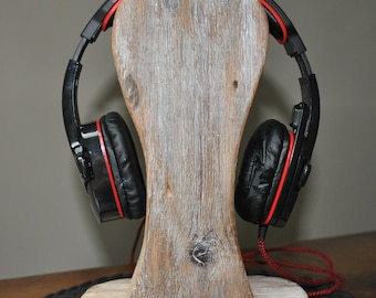 Reclaimed Wood Headphone Stand #3, Wooden Headphone Holder, Drift Wood Headphone Stand, Rustic Headphone Stand  by www.art-tarkowski.com