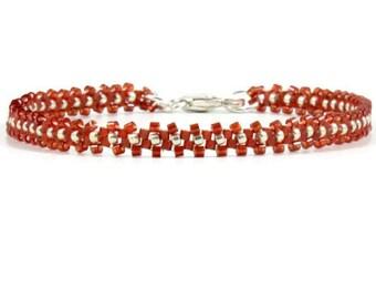 Layering Bracelet - - Red Bracelet - Beaded Bracelet - Seed Bead Jewelry - Daisy Chain Bracelet - Beadwork Jewelry - Seed Bead Bracelet