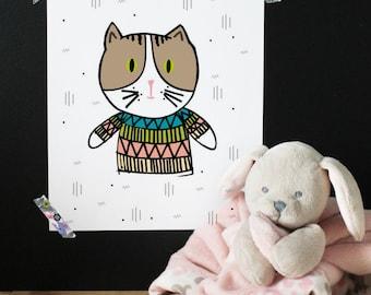 Kid print, nursery print, nursery decor, wall art, printable art, cat print, cat lover, happy print, funny print, baby print, kid room decor