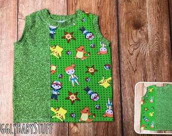 Gamer Print Tank Top Green Glitter Color Blocking Catch Them All size 3T