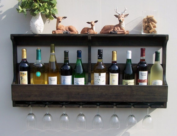 Rustic 10 Bottle Wall Mount Wine Rack With 8 Glass Holder