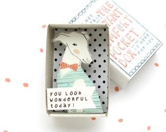 Die Instant Komfort Pocket Box - Windhund Hunde - sehen Sie heute wunderbar! -jubeln Box - Nachricht in einer Box - motivierenden Geschenk