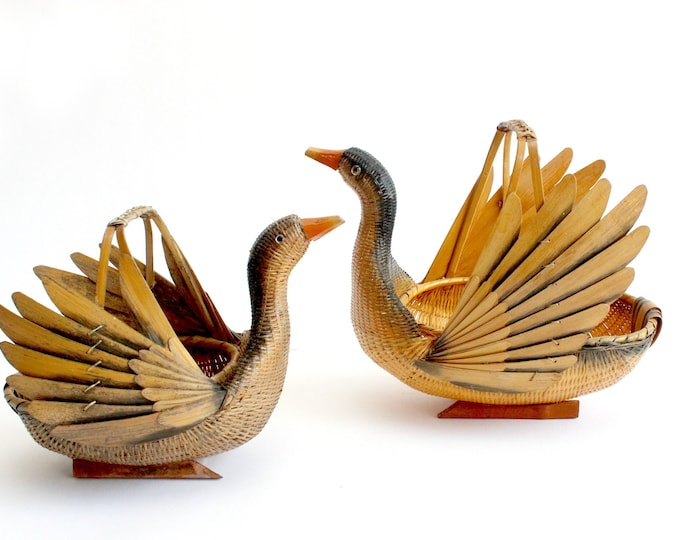 Featured listing image: Bird Baskets, Pair of Woven Duck Baskets
