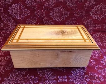 Handmade Wood Jewelry Box - Maple - Keepsake Box, Trinket Box
