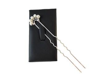 White Pearl Hair Pin Silver, Long Hair Pins Bridal Updo Hair Accessories, Swarovski Pearl Bridal Hair Pin Pearl Hair Accessory for Prom