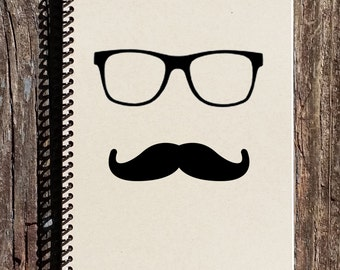 Nerd Mustache - Nerd Notebook - Nerd Journal - Mustache Notebook - Mustache Journal - Sketchbook